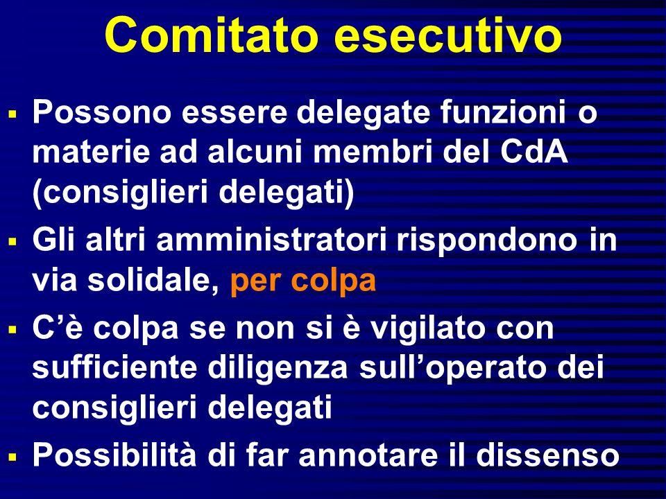 Comitato esecutivo Possono essere delegate funzioni o materie ad alcuni membri del CdA (consiglieri delegati)