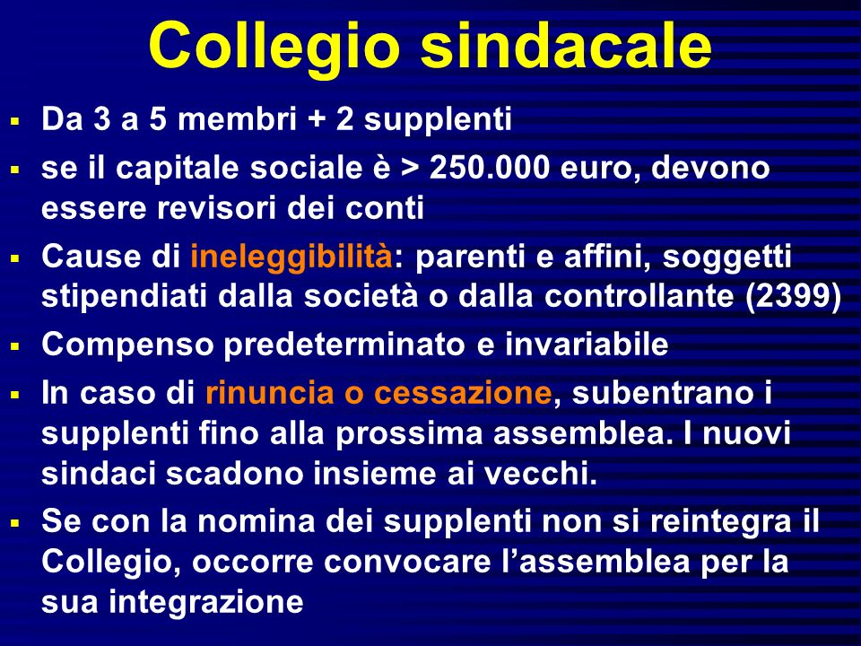 Collegio sindacale Da 3 a 5 membri + 2 supplenti