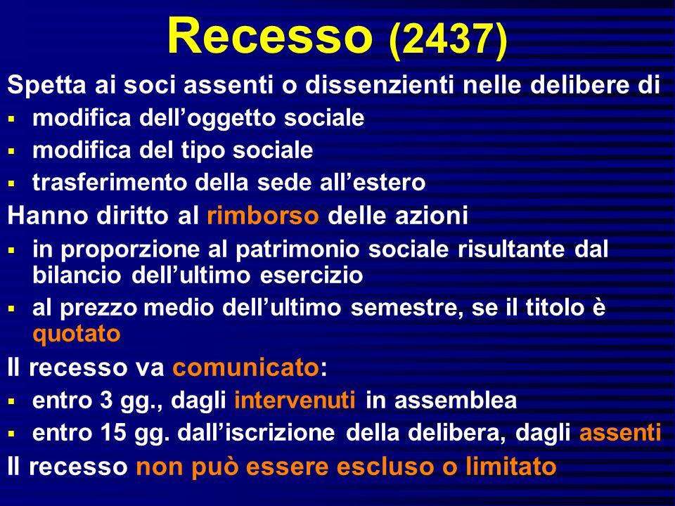 Recesso (2437) Spetta ai soci assenti o dissenzienti nelle delibere di