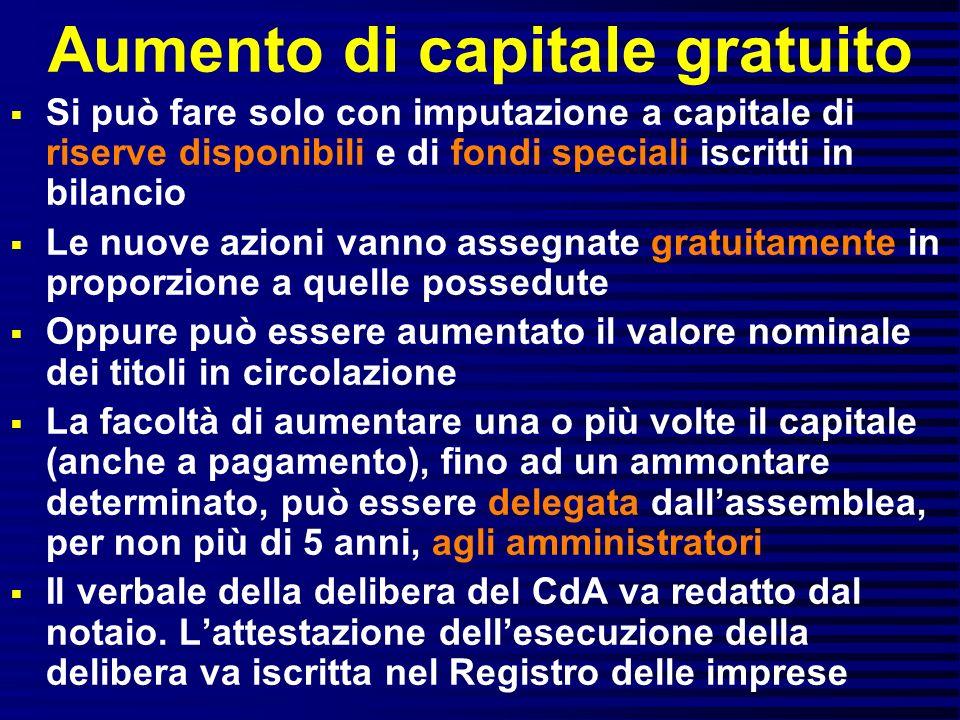 Aumento di capitale gratuito