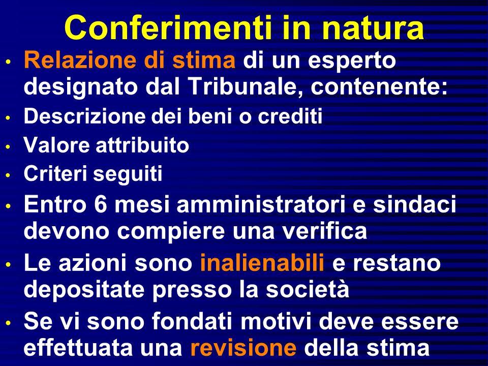 Conferimenti in natura