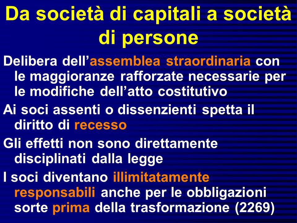 Da società di capitali a società di persone