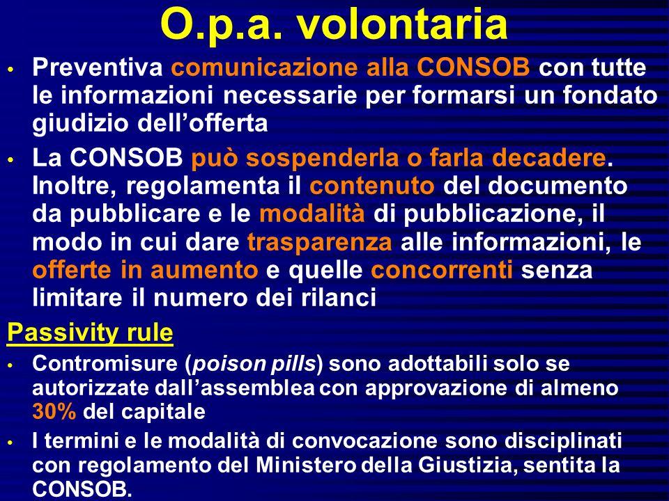 O.p.a. volontaria Preventiva comunicazione alla CONSOB con tutte le informazioni necessarie per formarsi un fondato giudizio dell'offerta.