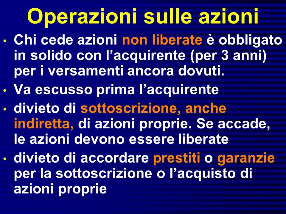Operazioni sulle azioni