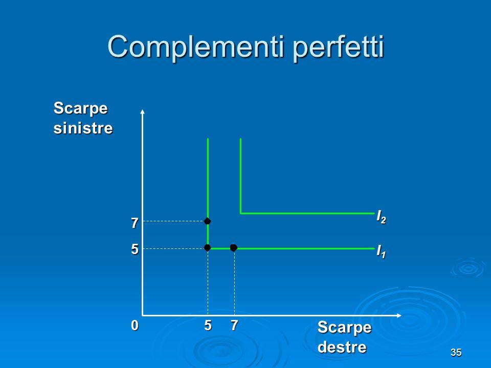 Complementi perfetti Scarpe sinistre I2 7 5 I1 5 7 Scarpe destre