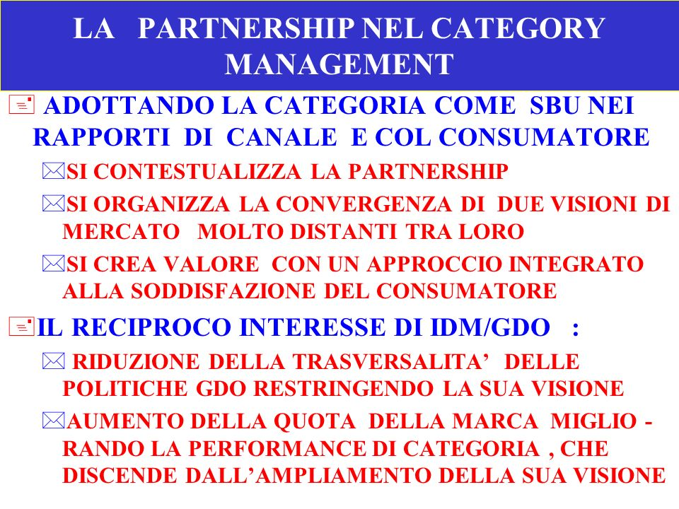 LA PARTNERSHIP NEL CATEGORY MANAGEMENT