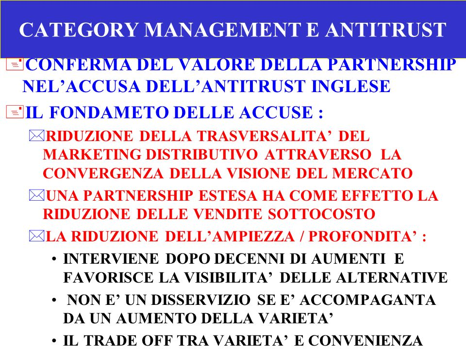 CATEGORY MANAGEMENT E ANTITRUST