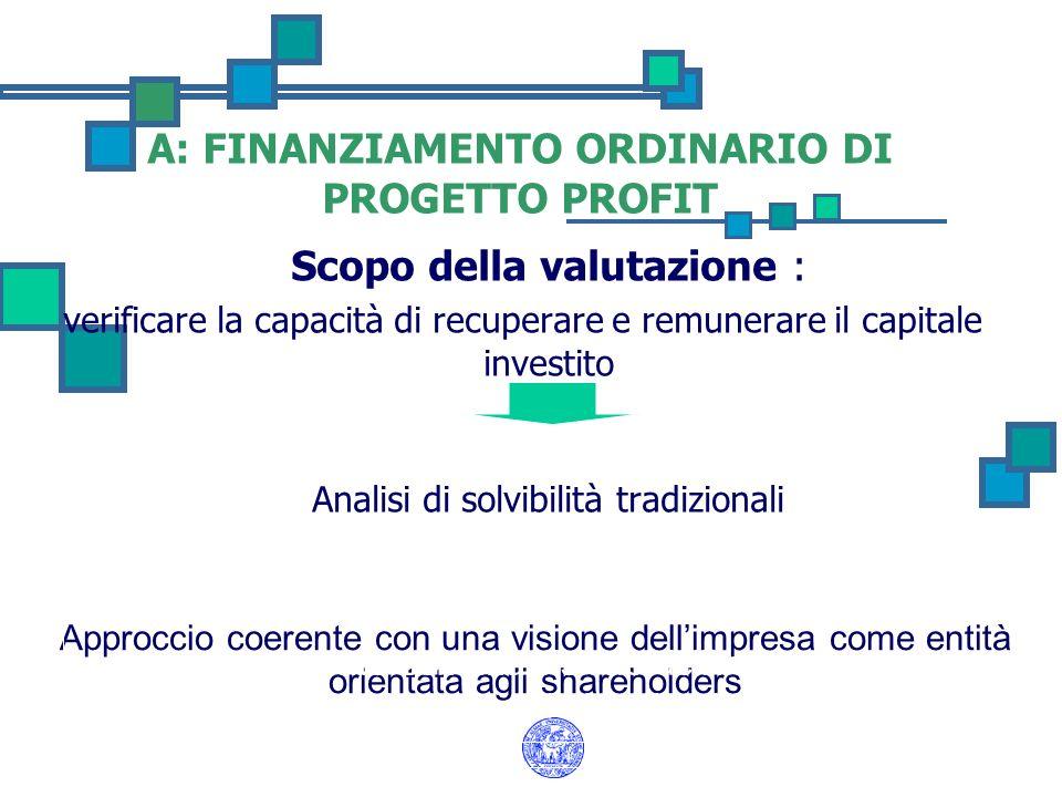A: FINANZIAMENTO ORDINARIO DI PROGETTO PROFIT