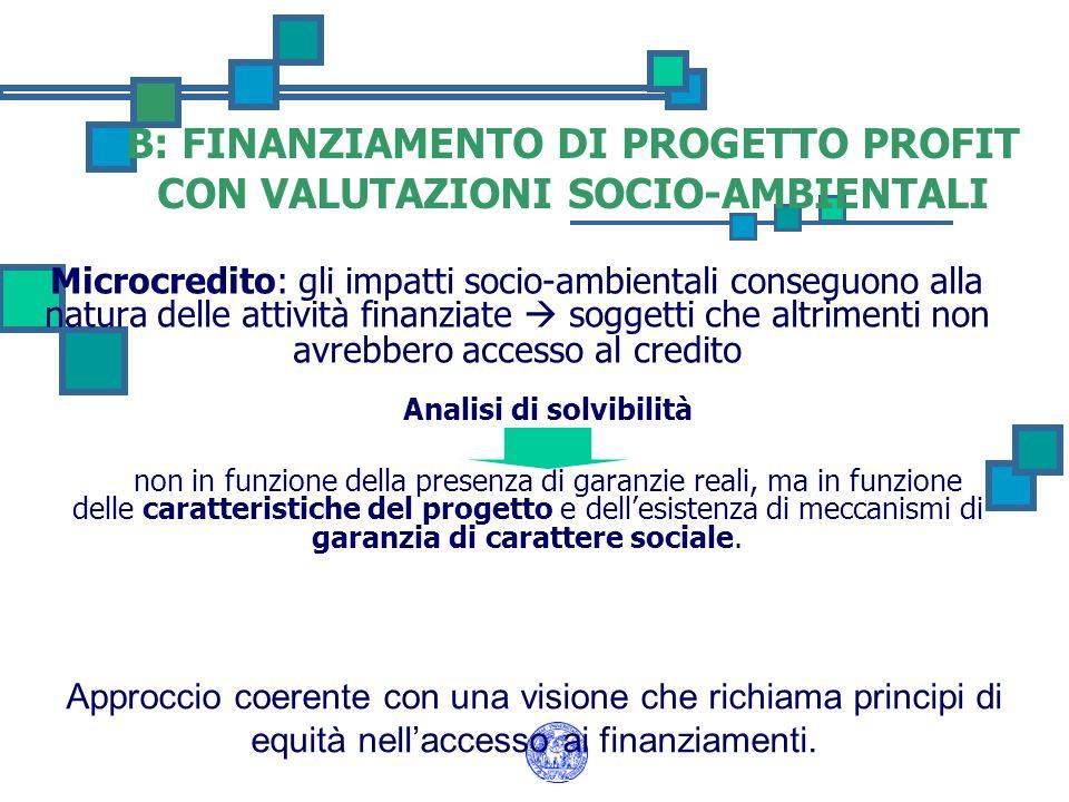 B: FINANZIAMENTO DI PROGETTO PROFIT CON VALUTAZIONI SOCIO-AMBIENTALI