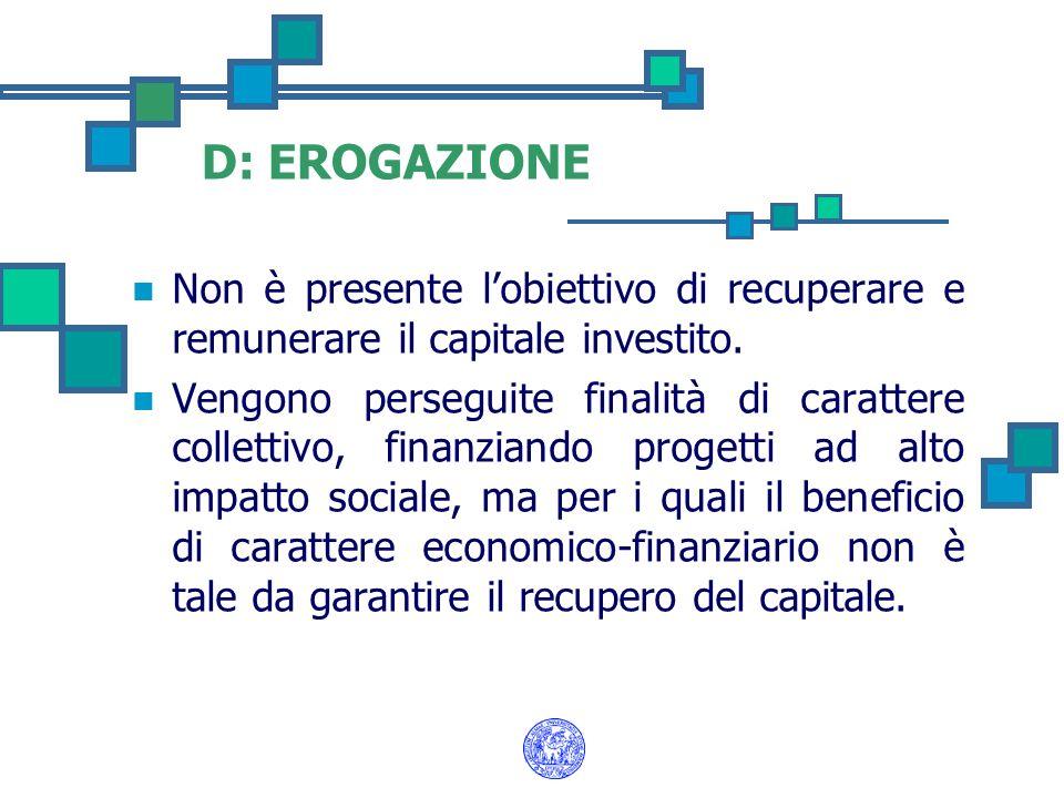 D: EROGAZIONE Non è presente l'obiettivo di recuperare e remunerare il capitale investito.
