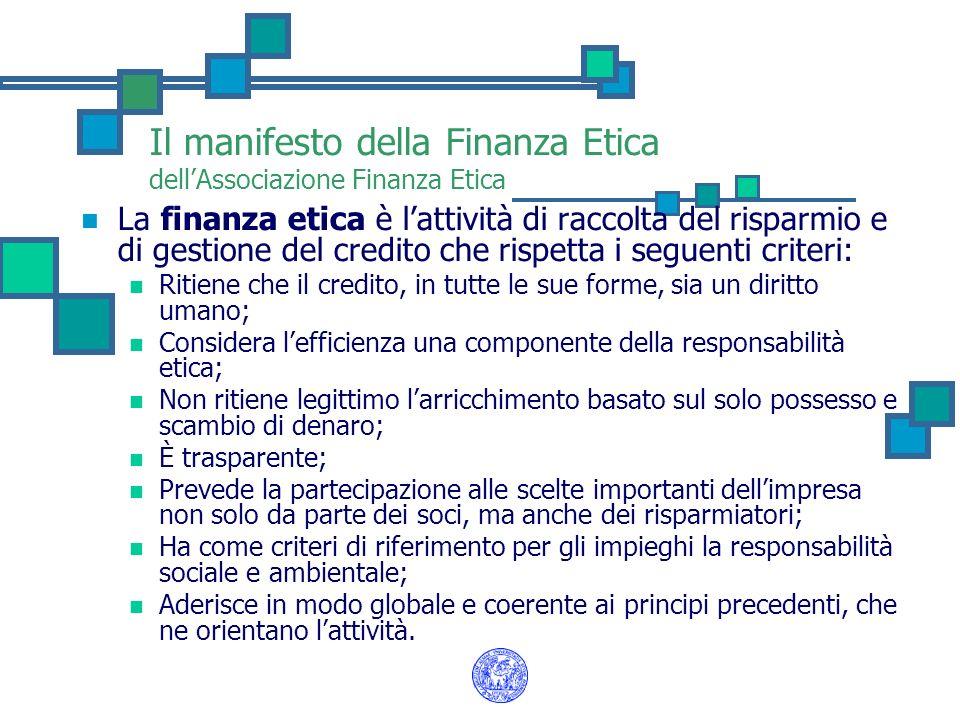 Il manifesto della Finanza Etica dell'Associazione Finanza Etica