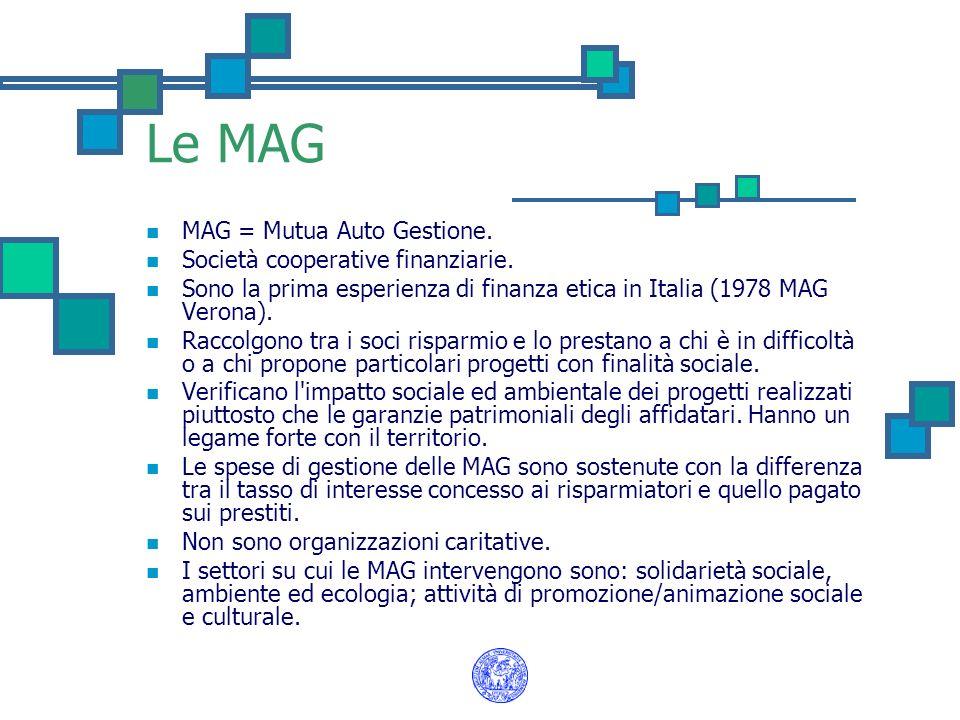 Le MAG MAG = Mutua Auto Gestione. Società cooperative finanziarie.