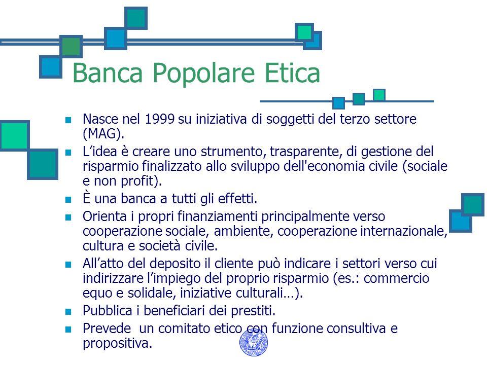 Banca Popolare Etica Nasce nel 1999 su iniziativa di soggetti del terzo settore (MAG).