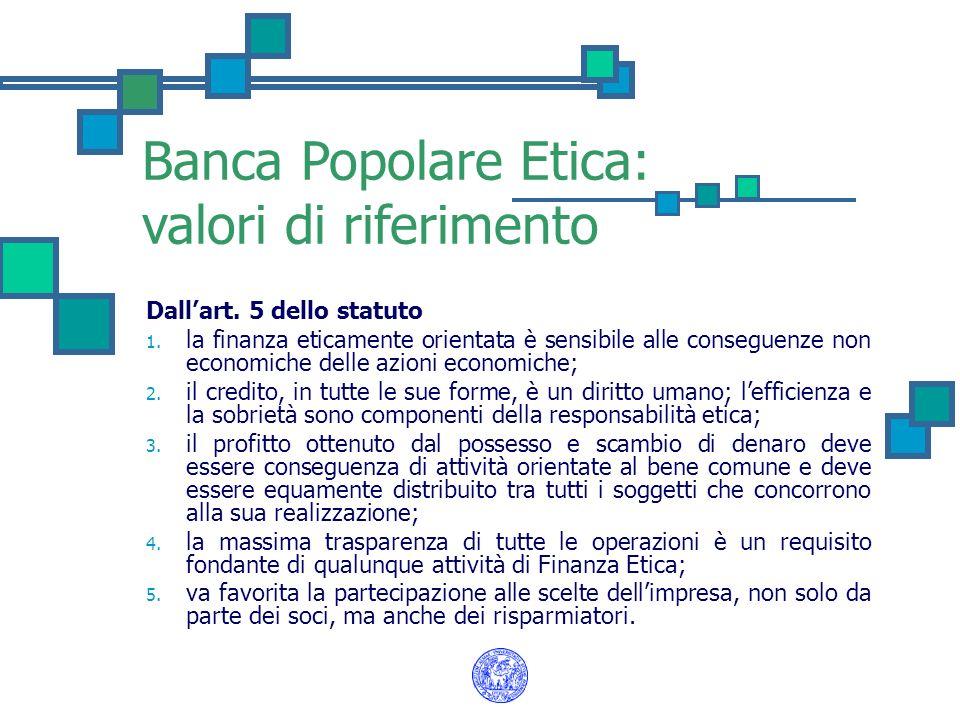 Banca Popolare Etica: valori di riferimento