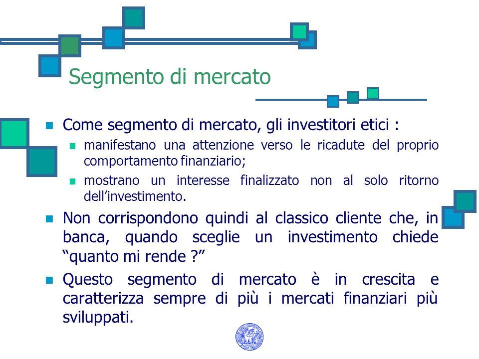 Segmento di mercato Come segmento di mercato, gli investitori etici :