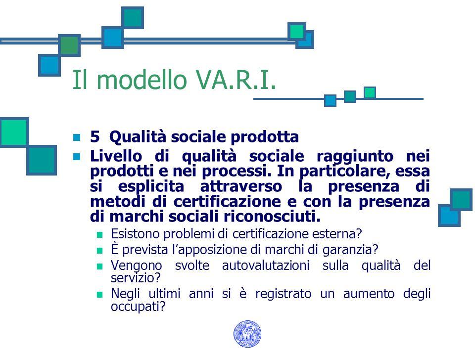 Il modello VA.R.I. 5 Qualità sociale prodotta