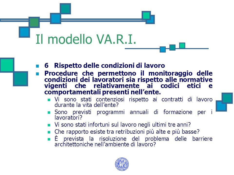 Il modello VA.R.I. 6 Rispetto delle condizioni di lavoro