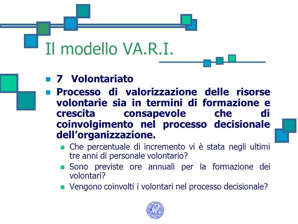 Il modello VA.R.I. 7 Volontariato