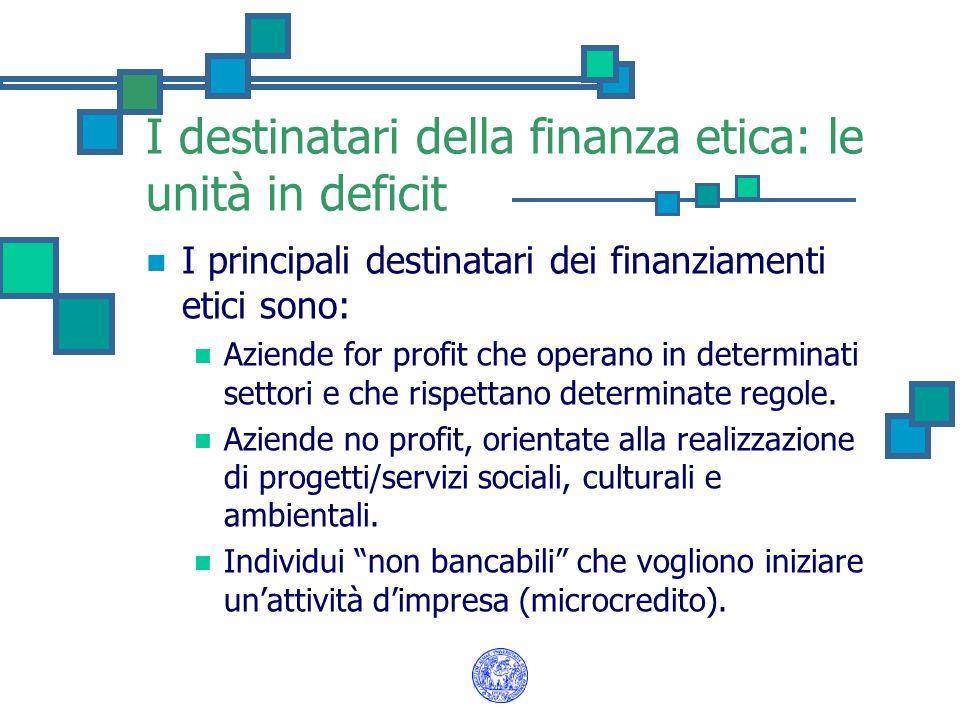 I destinatari della finanza etica: le unità in deficit