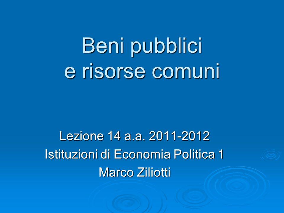 Beni pubblici e risorse comuni