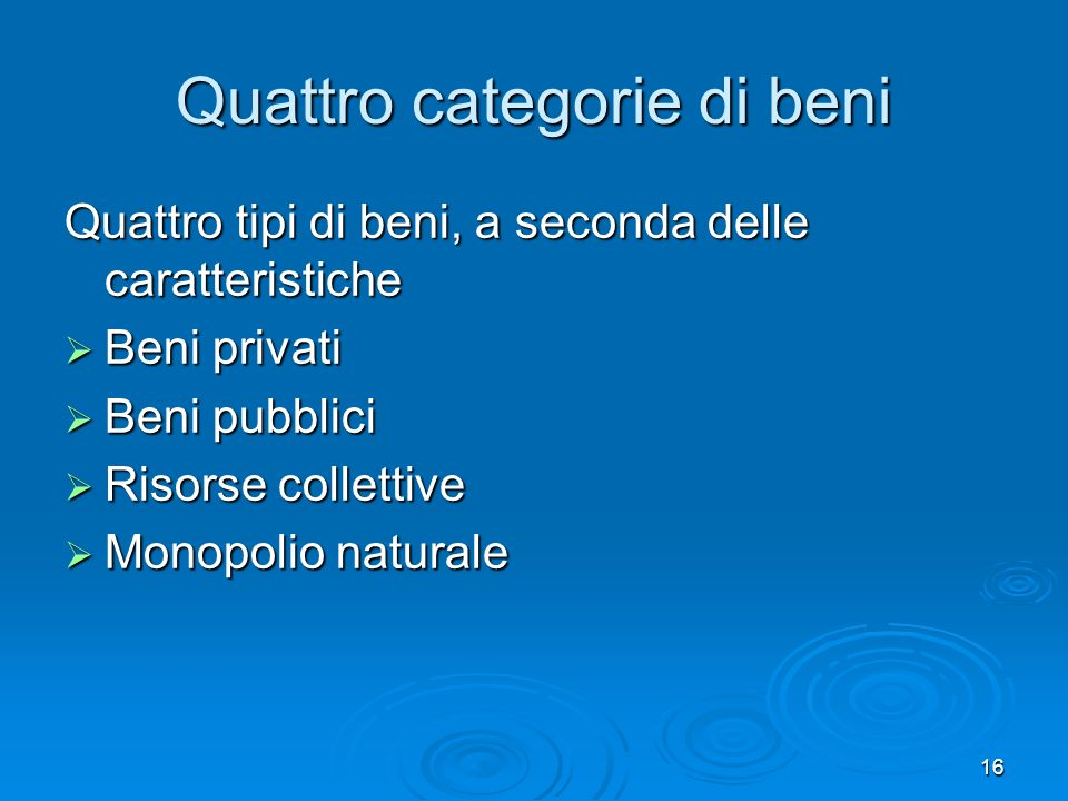 Quattro categorie di beni