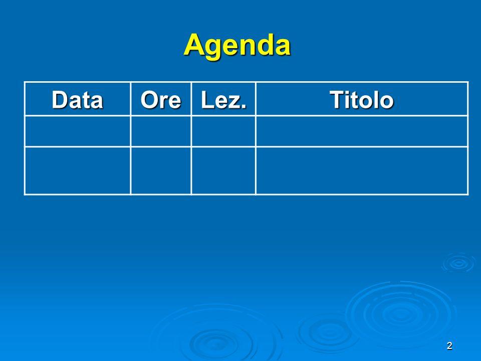 Agenda Data Ore Lez. Titolo