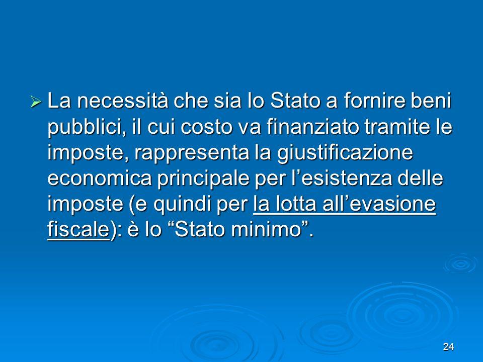 La necessità che sia lo Stato a fornire beni pubblici, il cui costo va finanziato tramite le imposte, rappresenta la giustificazione economica principale per l'esistenza delle imposte (e quindi per la lotta all'evasione fiscale): è lo Stato minimo .
