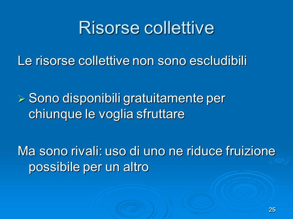 Risorse collettive Le risorse collettive non sono escludibili
