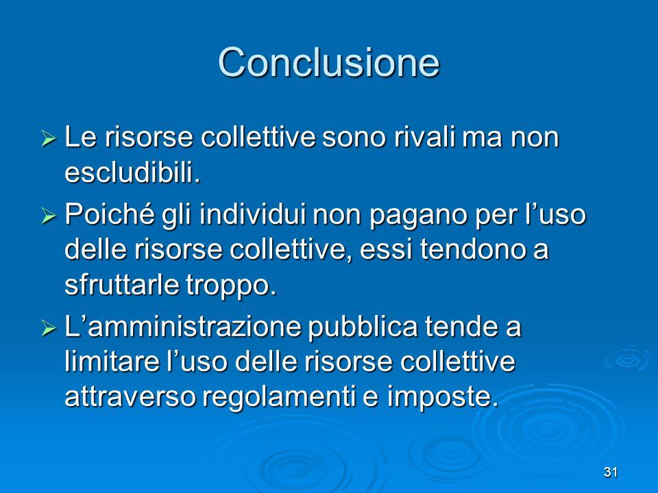 Conclusione Le risorse collettive sono rivali ma non escludibili.