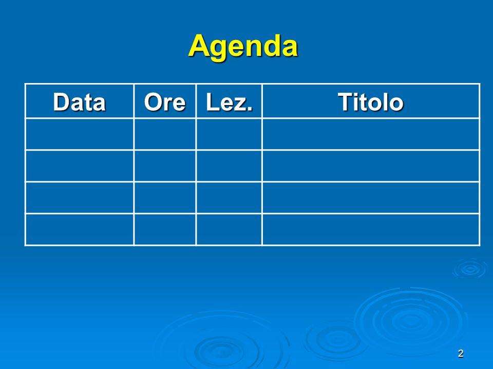 Agenda Data Ore Lez. Titolo 2