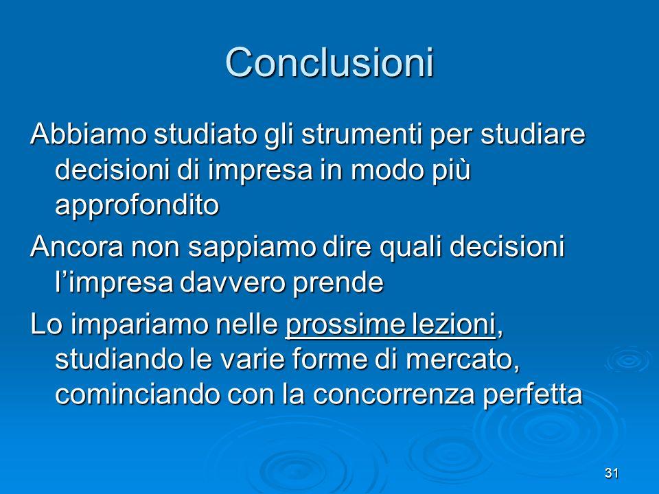 Conclusioni Abbiamo studiato gli strumenti per studiare decisioni di impresa in modo più approfondito.