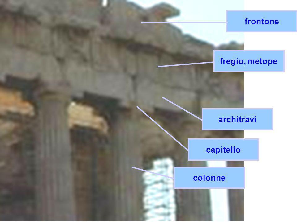 frontone fregio, metope architravi capitello colonne