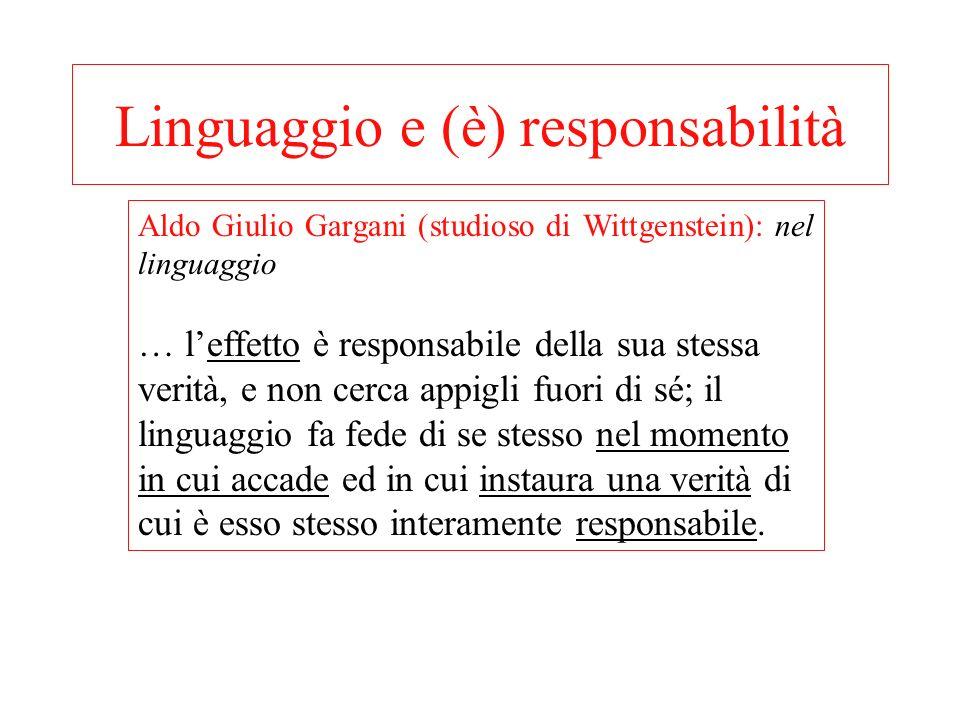 Linguaggio e (è) responsabilità