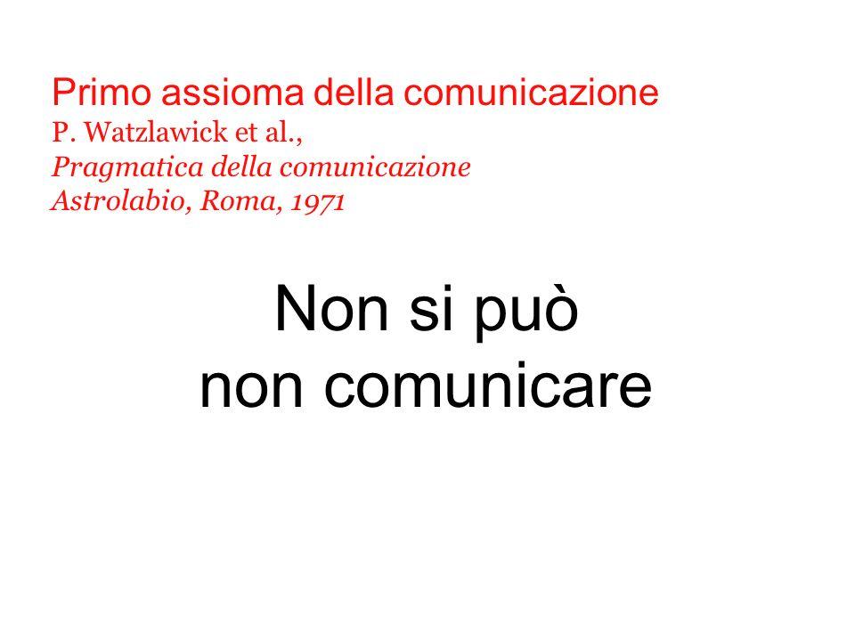Non si può non comunicare Primo assioma della comunicazione