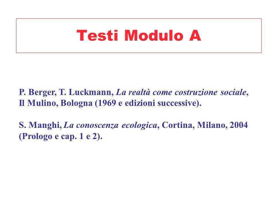 Testi Modulo A P. Berger, T. Luckmann, La realtà come costruzione sociale, Il Mulino, Bologna (1969 e edizioni successive).