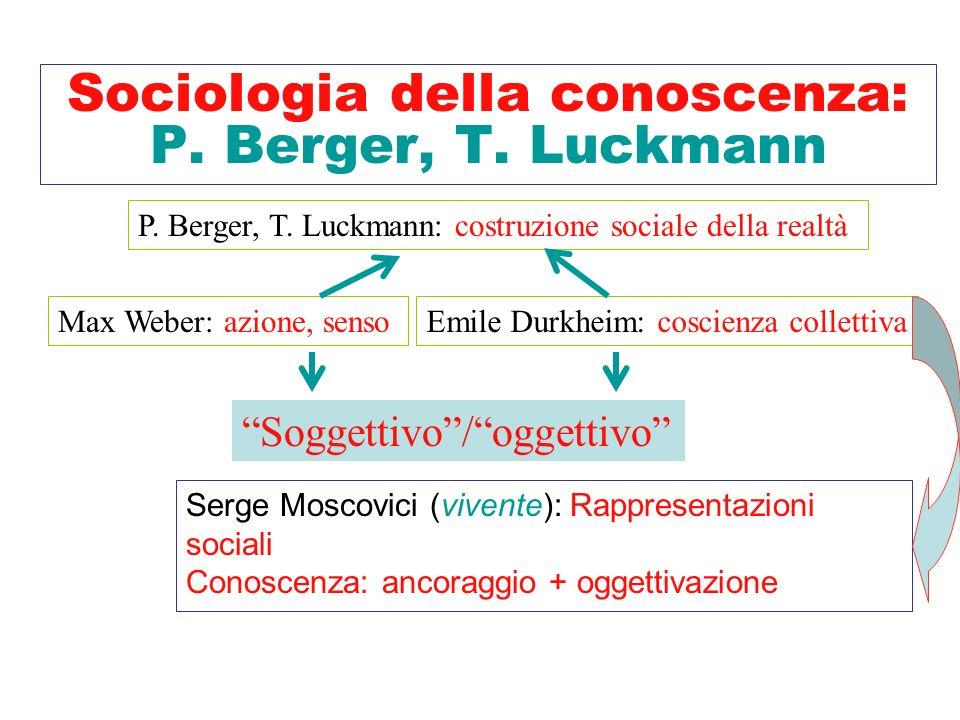 Sociologia della conoscenza: P. Berger, T. Luckmann