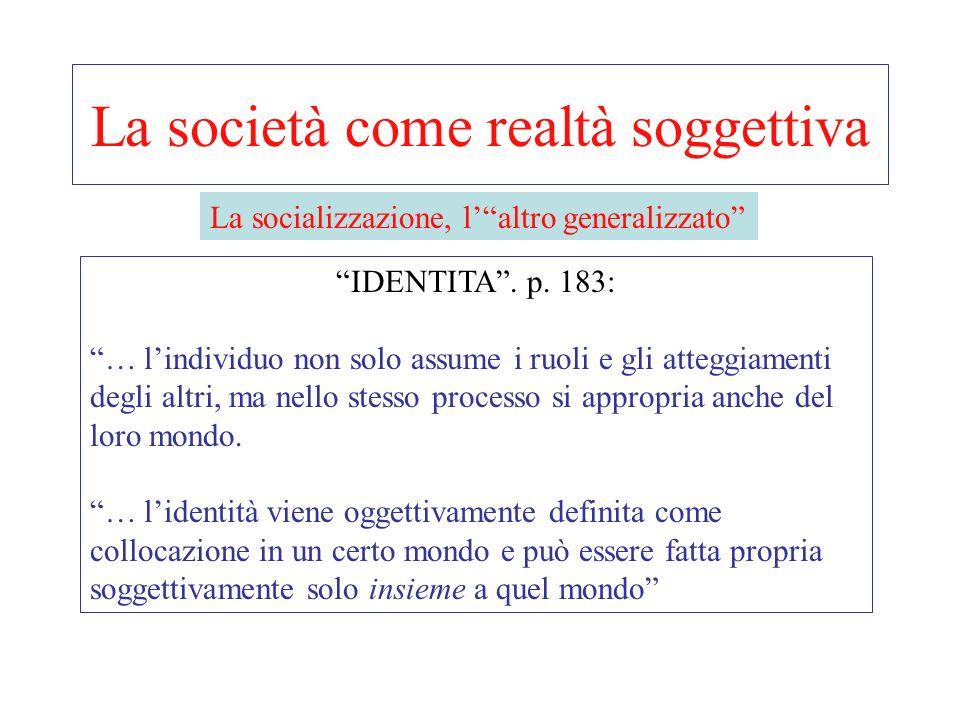 La società come realtà soggettiva