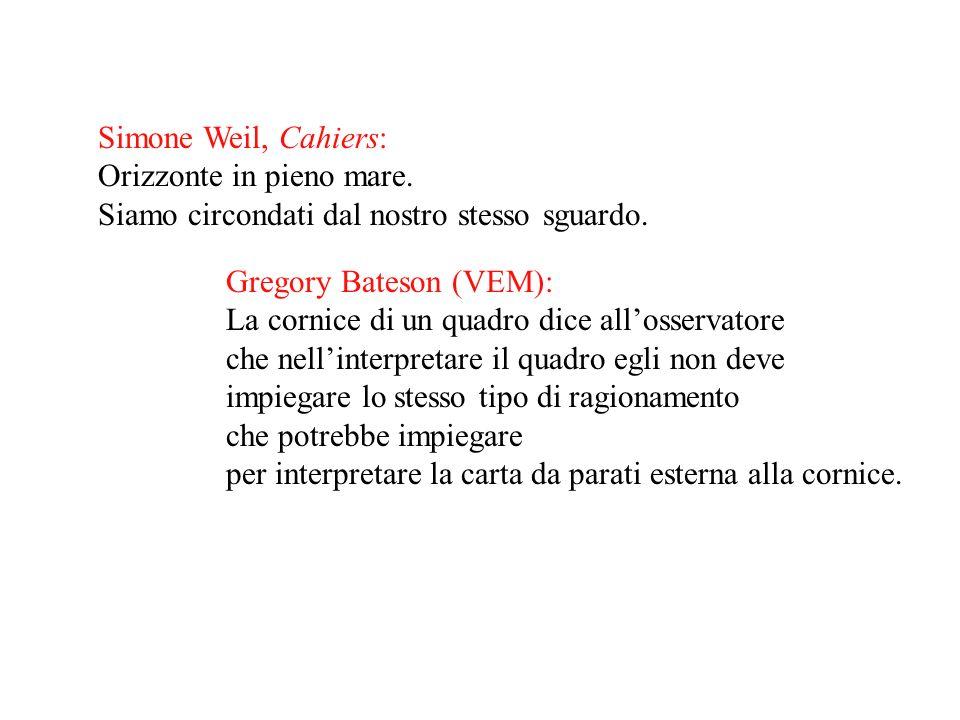 Simone Weil, Cahiers: Orizzonte in pieno mare. Siamo circondati dal nostro stesso sguardo. Gregory Bateson (VEM):
