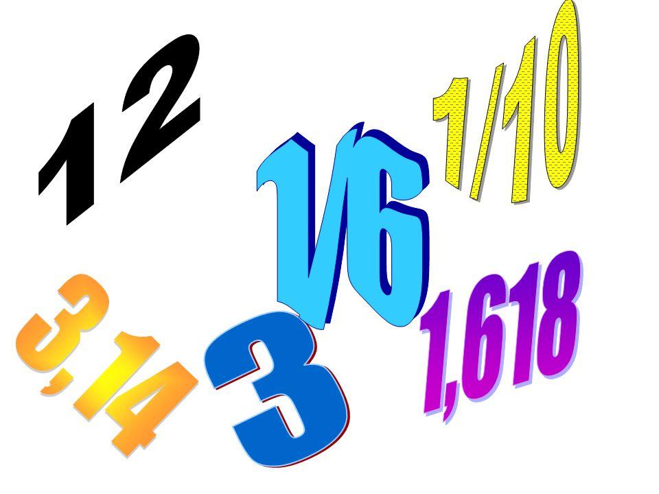 1/10 12 1/6 1,618 3,14 3
