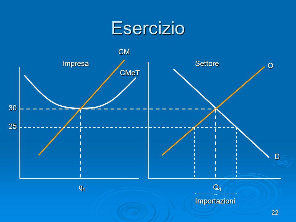 Esercizio CM Impresa Settore O CMeT 30 25 D q1 Q1 Importazioni