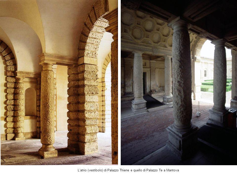 L'atrio (vestibolo) di Palazzo Thiene e quello di Palazzo Te a Mantova