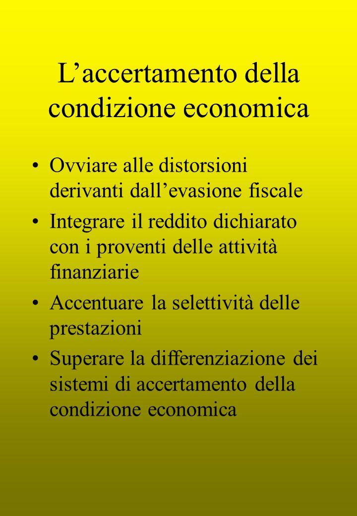 L'accertamento della condizione economica