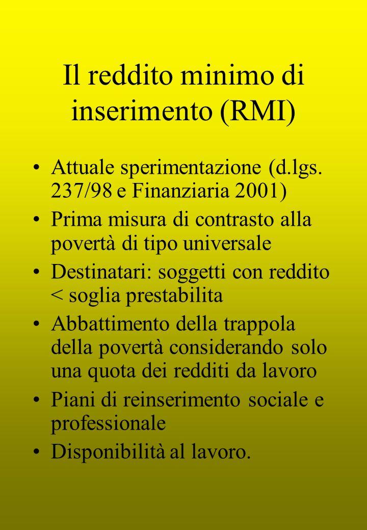 Il reddito minimo di inserimento (RMI)