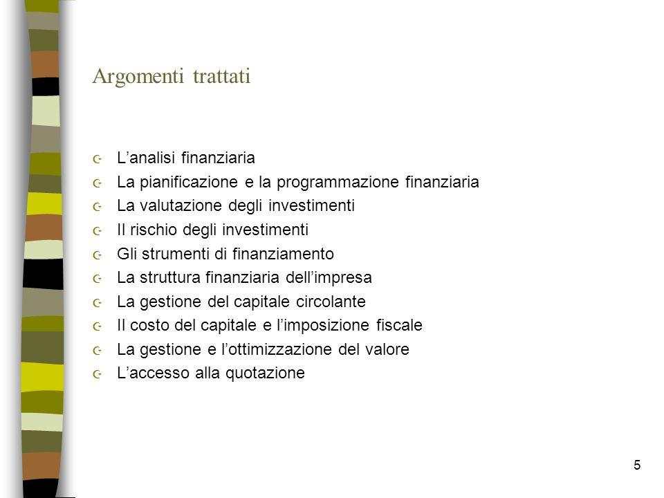 Argomenti trattati L'analisi finanziaria