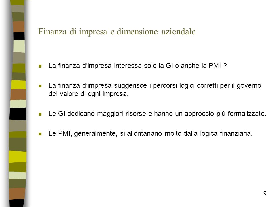 Finanza di impresa e dimensione aziendale