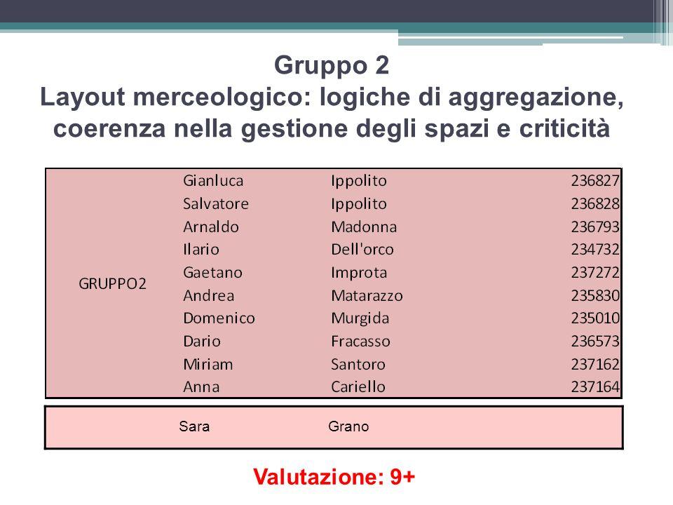 Gruppo 2 Layout merceologico: logiche di aggregazione, coerenza nella gestione degli spazi e criticità