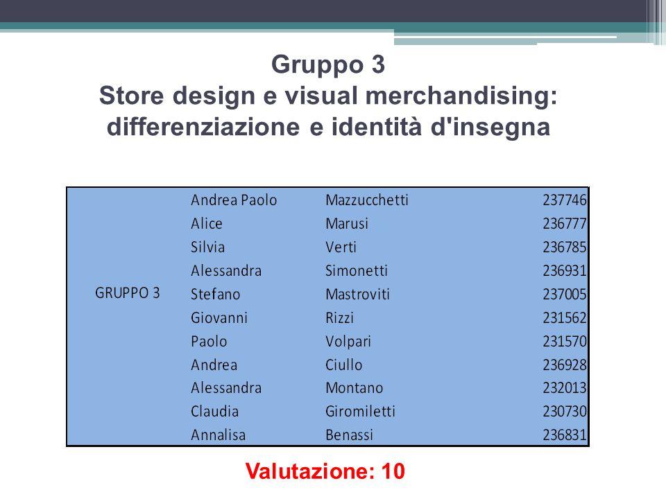 Gruppo 3 Store design e visual merchandising: differenziazione e identità d insegna