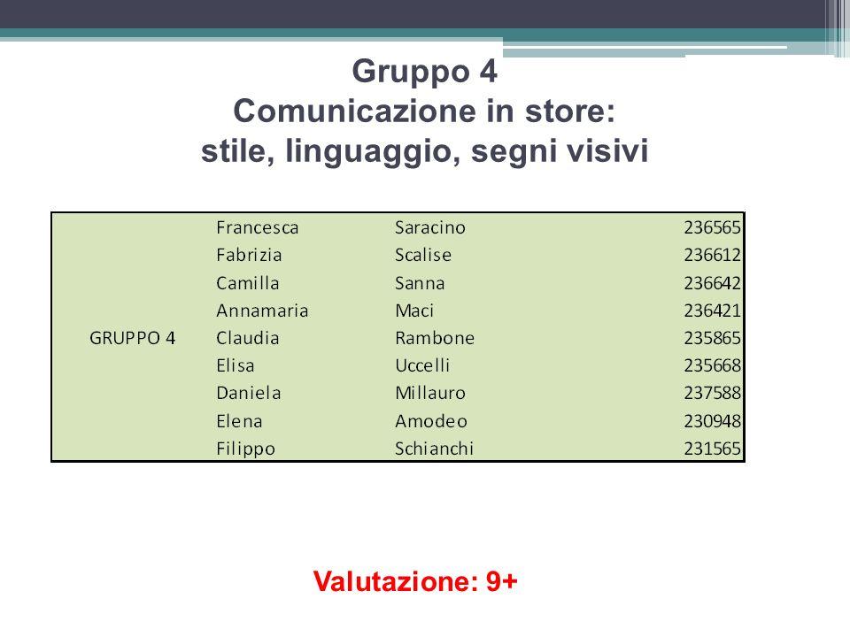 Gruppo 4 Comunicazione in store: stile, linguaggio, segni visivi
