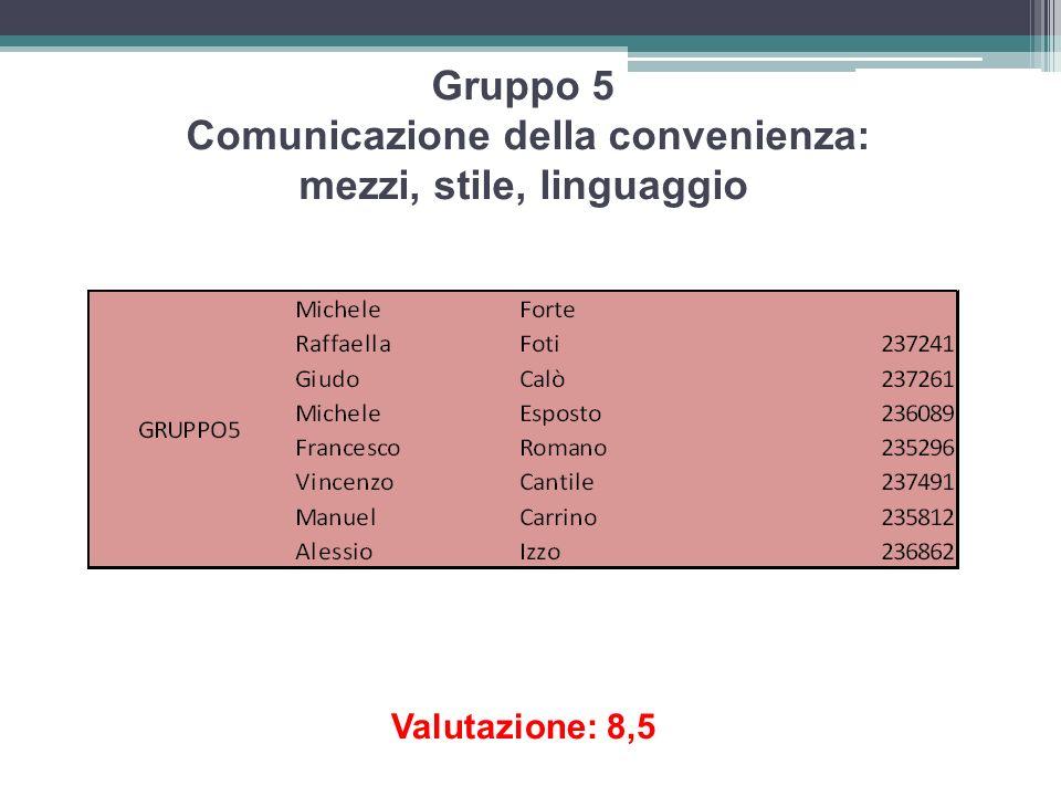 Gruppo 5 Comunicazione della convenienza: mezzi, stile, linguaggio