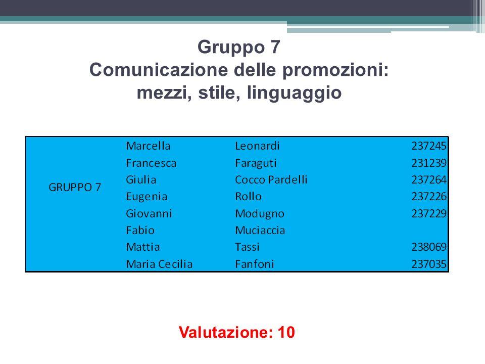 Gruppo 7 Comunicazione delle promozioni: mezzi, stile, linguaggio